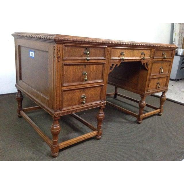 Antique English Tiger Oak Carved Desk - Image 4 of 10