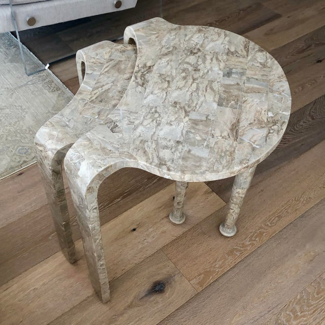 Tessellated Fossil Stone Nesting Tables - Set of 2 For Sale - Image 9 of 13