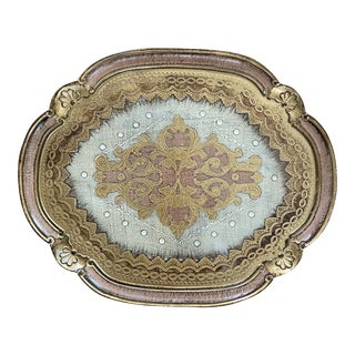 New Pink Italian Florentine Tray For Sale
