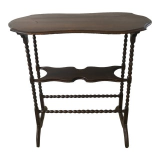 Early 20th Century Walnut Side Table With Turned Legs For Sale