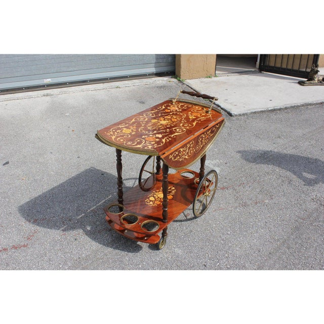 1950s French Marquetry Drop Leaf Bar Cart For Sale In Miami - Image 6 of 13