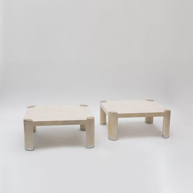 1980s Pair of 1980s Karl Springer Goatskin Occasional Tables For Sale - Image 5 of 11