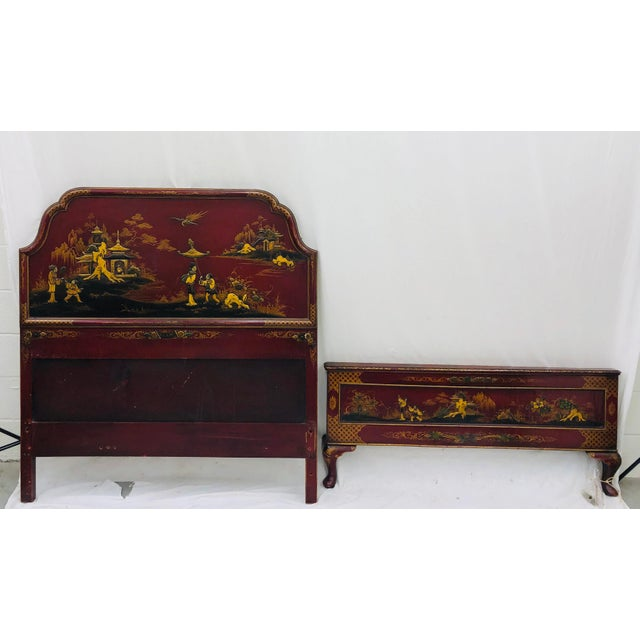Stunning Antique Asian Chinoiserie Painted Bed. Complete with Headboard and Footboard. Original finish fittings and frame....