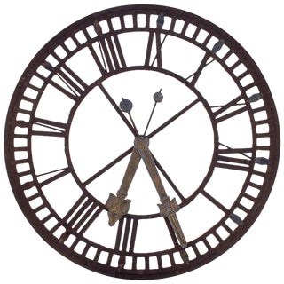 19th C. French Iron and Glass Church Clock Face For Sale