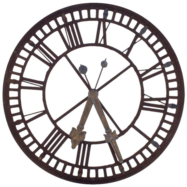 19th C. French Iron and Glass Church Clock Face - Image 1 of 11