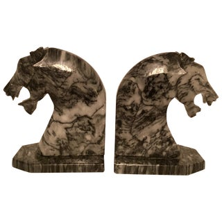 Pair of Marble Tiger Bookends For Sale