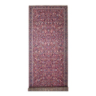 19th Century Antique Persian Mashhad Carpet Runner with Art Nouveau Style