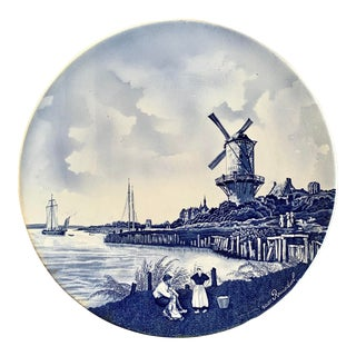Antique Blue & White Charger Plate by Delft of Holland For Sale