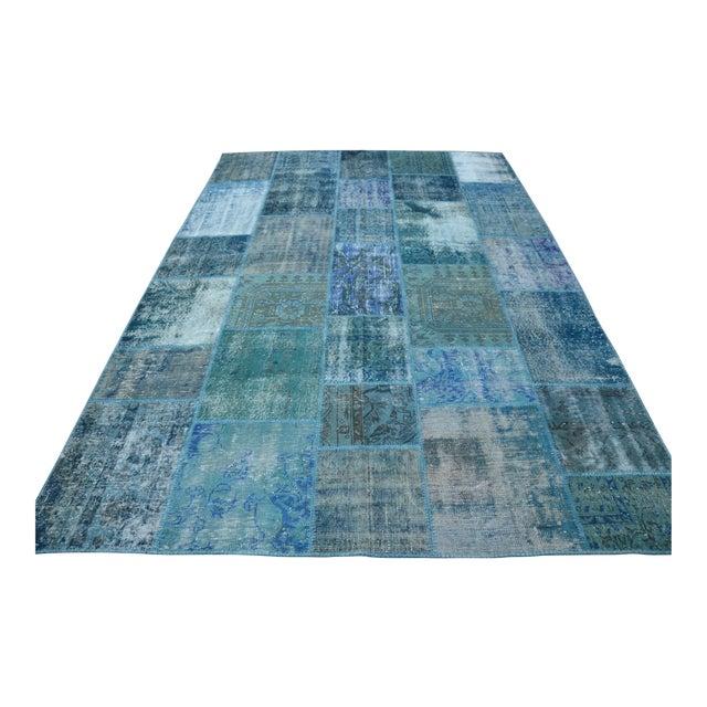 Blue Turkish Patchwork Rug - 6′10″ × 9′10″ - Image 1 of 6