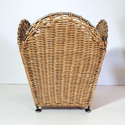 Vintage Woven Wicker Steel Trash Basket Chairish