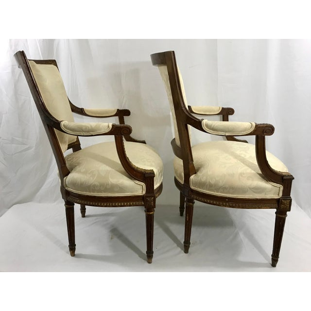 Louis XVI Style Arm Chairs a Pair For Sale - Image 4 of 6
