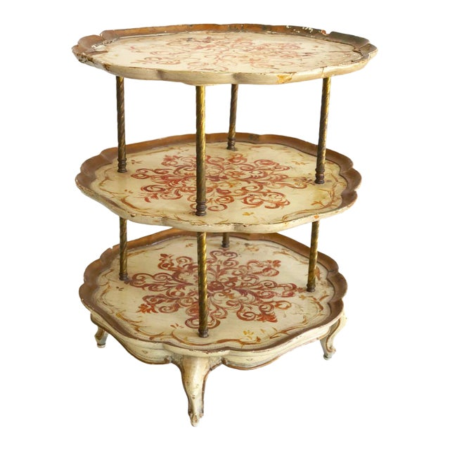 Vintage Italian Florentine Style 3 Tier Side Scalloped Table For Sale