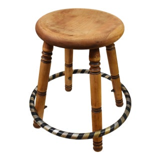 American Rustic Round Wood Metal Stool For Sale