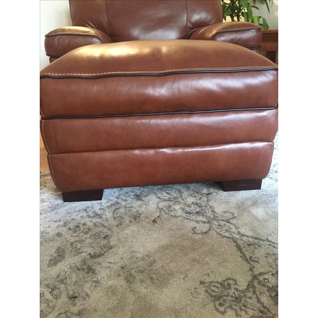 Macy's Brown Leather Ottoman - Image 3 of 3