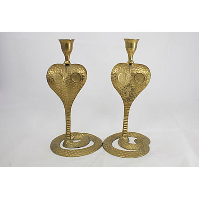 Mid-Century Modern Brass Cobra Candlesticks For Sale - Image 3 of 4