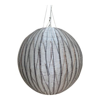 Gray and Black Stripe Woven Globe Pendant Light For Sale