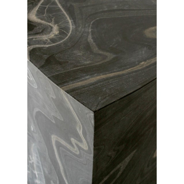 Modern Beslana Block Side Table - Black Marble For Sale - Image 3 of 9