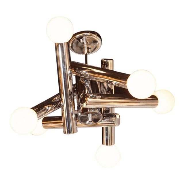 Mid-Century Modern Sculptural Chrome and Frosted Glass Chandelier by Sciolari For Sale