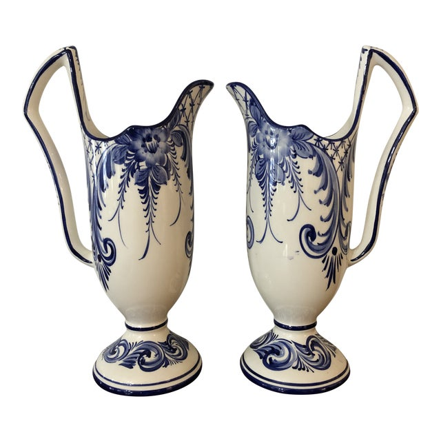 1960s Rccl Pottery Vases Handpainted From Portugal - a Pair For Sale