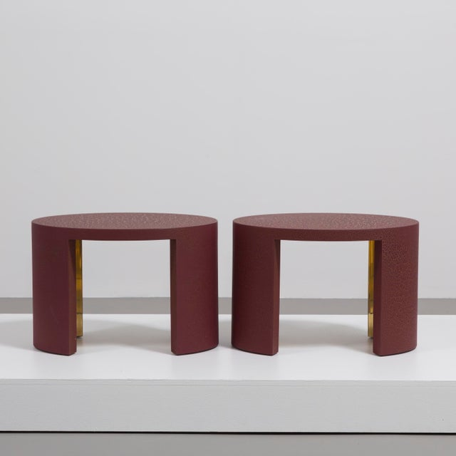 Contemporary The Oval Crackle Side Tables by Talisman Bespoke (Burgundy and Gold) For Sale - Image 3 of 8