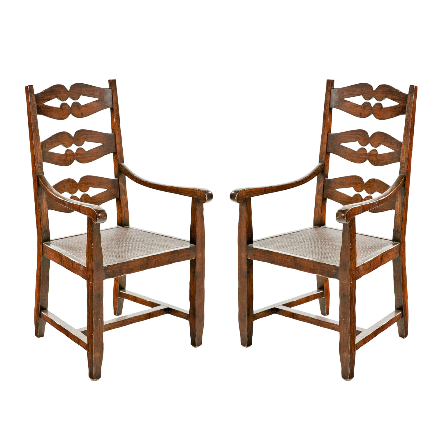 English Ladderback Arm Chairs With Caning   A Pair For Sale