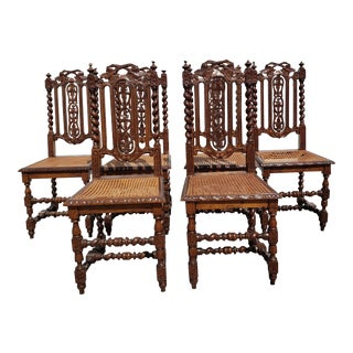 Antique Jacobean Cane Seat Chairs- Set of 6 For Sale