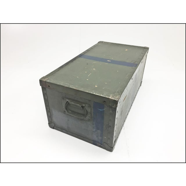 Metal Vintage Industrial Drab Green Military Chest W Removable Lid For Sale - Image 7 of 12