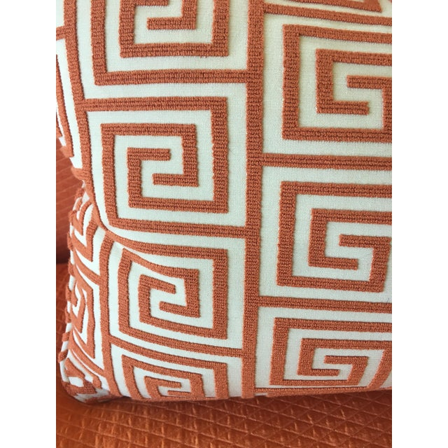 Custom Orange/Natural Fabric Extra Large Kidney Pillow - Image 5 of 8