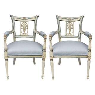Early 19th Century Antique Directoire Lacquered Armchairs - a Pair For Sale