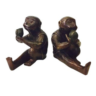 Vintage Chinoiserie Monkey Bookends - A Pair