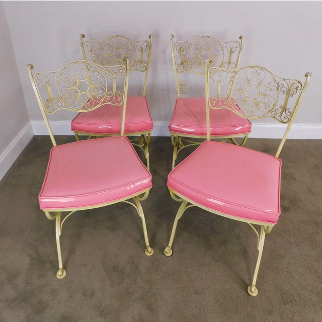 High Quality Woodard Labeled Dining/ Patio Chairs, Yellow with Pink Vinyl Cushions