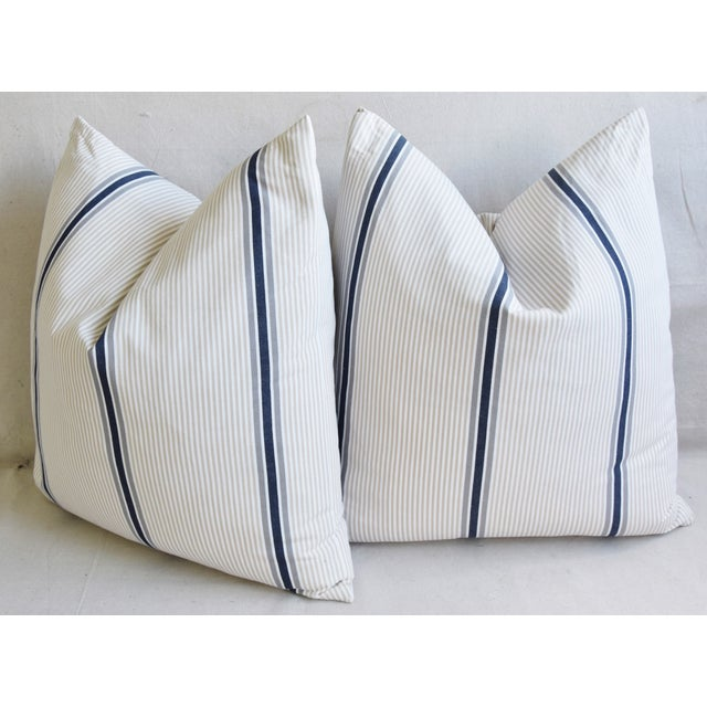 """French Blue/Gray/Tan/White Striped Ticking Feather/Down Pillows 23"""" Square - Pair For Sale - Image 9 of 12"""