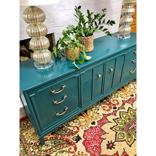 Wood 1960s Hollywood Regency Drexel Teal Jewel Tone Buffet For Sale - Image 7 of 8