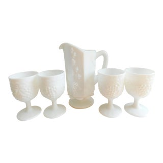 Vintage Westmoreland Milk Glass Pitcher and Goblets- Set of Five For Sale