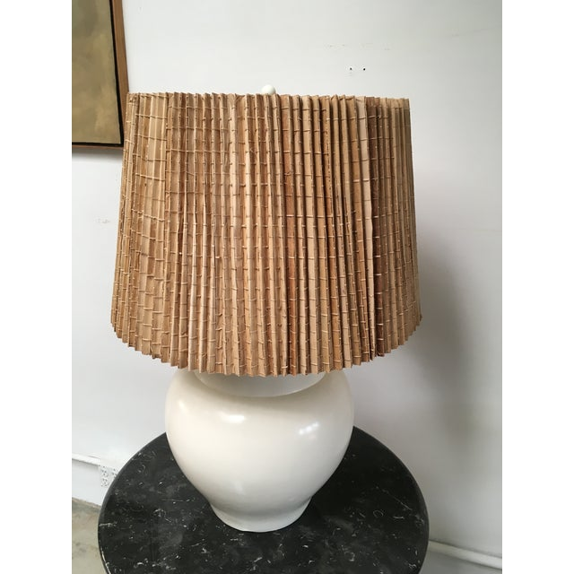 Oversize white ceramic lamp with gorgeous shape and original Japanese wood strip shade. From a prominent Brentwood Mid...