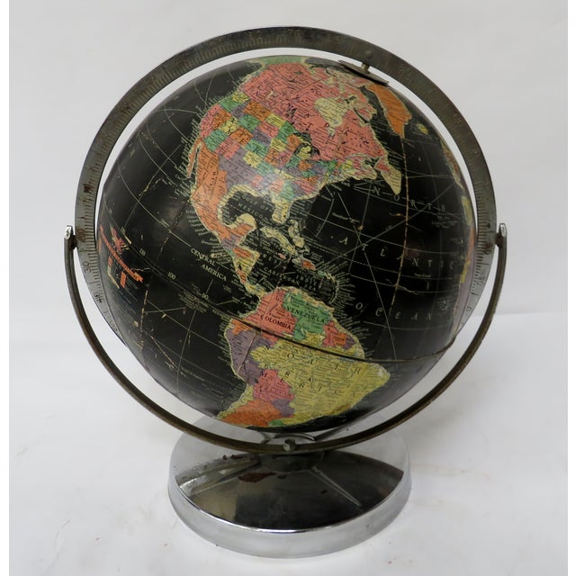"""Metal Replogle 12"""" Black Globe on Chrome Stand 1940s or 50s For Sale - Image 7 of 7"""