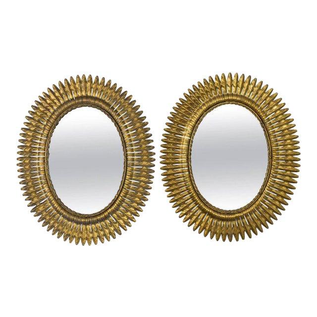 Metal Spanish Gilt Metal Sunburst Mirrors, 1940s - A Pair For Sale - Image 7 of 7