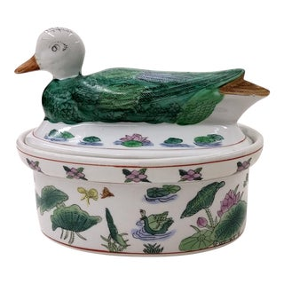 Vintage Ceramic Duck Casserole Serving and Baking Dish For Sale