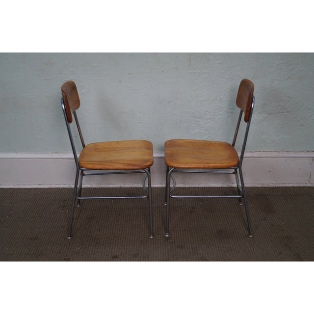 Industrial Heywood Wakefield Mid Century Chrome Frame Side Chairs - S/4 For Sale - Image 3 of 10