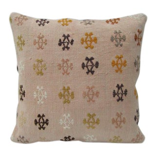 Embroidered Pink Kilim Pillow For Sale