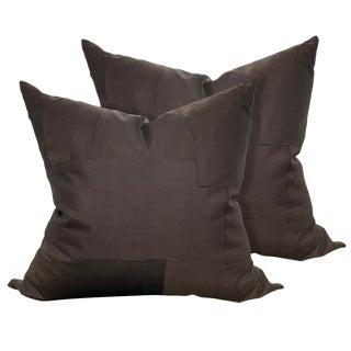 20th Century Japanese Men's Kimono Silk Pillows - a Pair For Sale