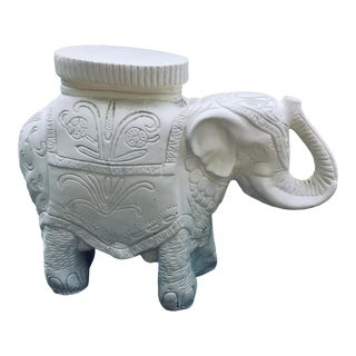 1970s Vintage White Stone Elephant Garden Stool Table For Sale