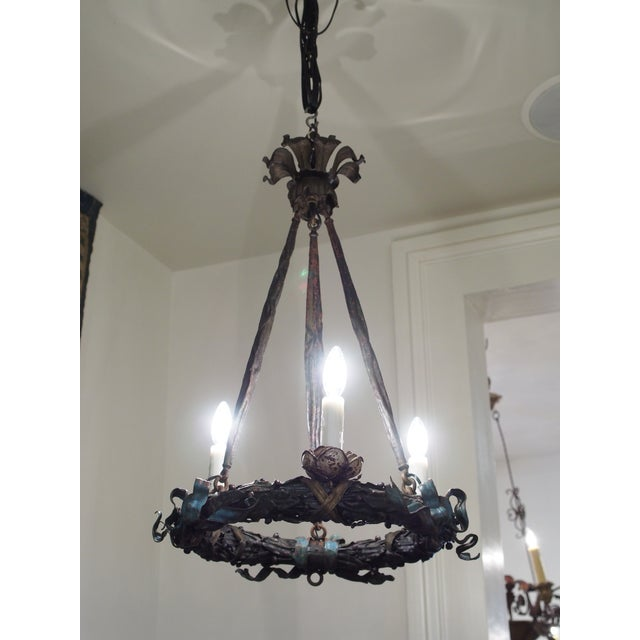 Turquoise Polychrome Wreath Form Chandelier For Sale - Image 8 of 8
