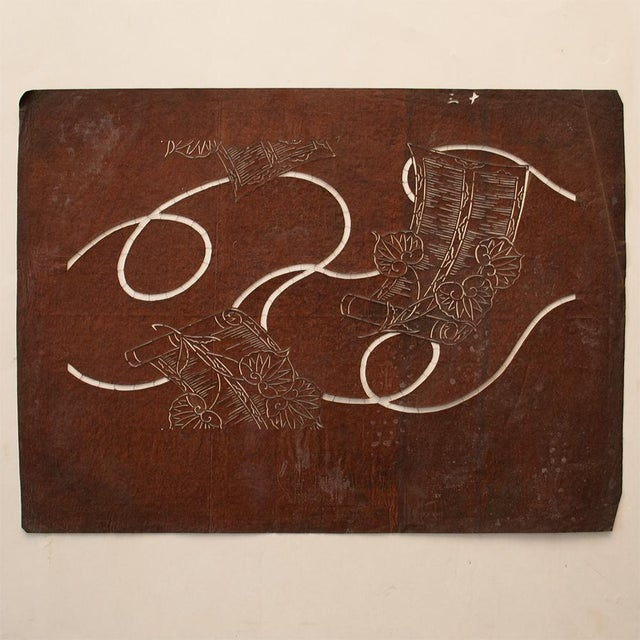 Asian C.1850s Edo Era Japanese Katagami Scrolls and Leaves Stencil Art For Sale - Image 3 of 13