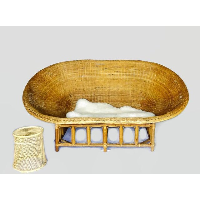 1970s Vintage Bamboo & Rattan Scoop Sofa - Image 8 of 10