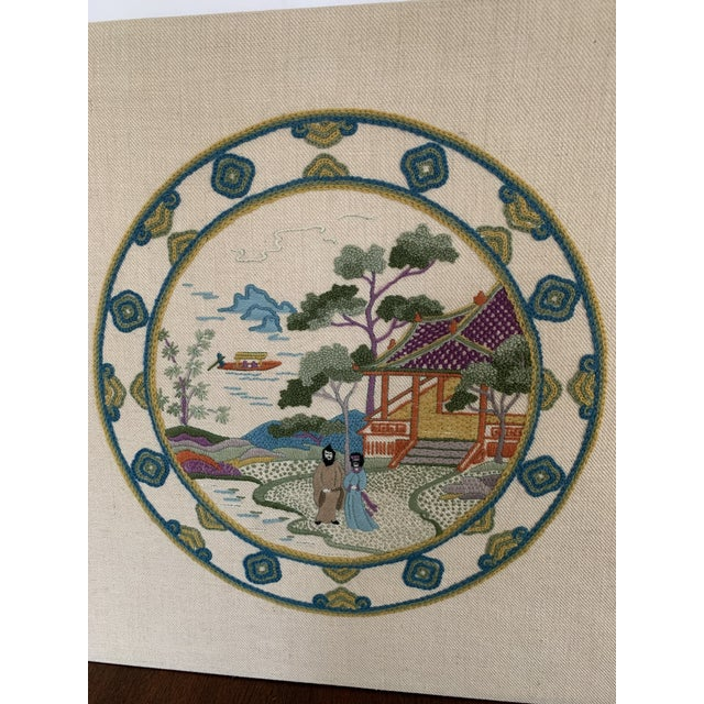Textile Vintage Chinoiserie Crewl Needlepoint Art Works - a Pair For Sale - Image 7 of 12