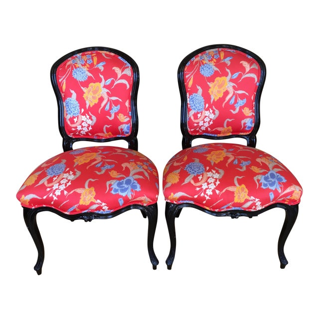 Black Lacquer Louis XV Style Chairs - A Pair - Image 1 of 5