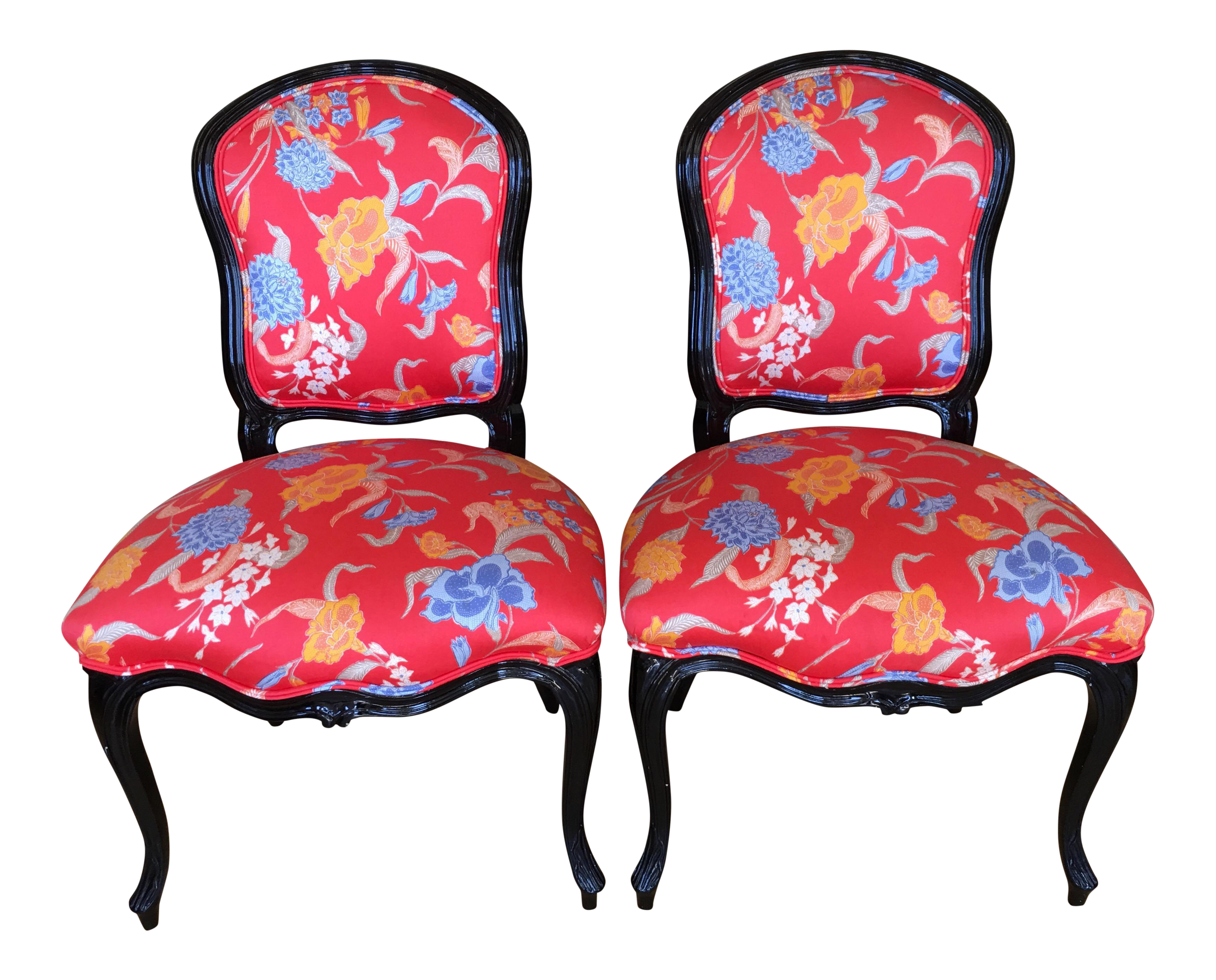 Beautiful Black Lacquer Louis XV Style Chairs   A Pair