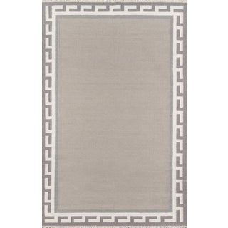 "Erin Gates Thompson Hinkley Grey Hand Woven Wool Area Rug 7'6"" X 9'6"" For Sale"
