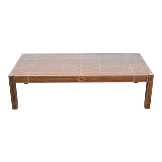 1950s Art Deco Drexel Oxford Large Wood Rectangular Coffee Table For Sale